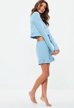 Blue Jersey Frill Short Pyjamas