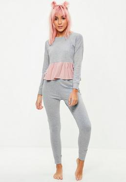Grey Frill Lounge Trousers Set