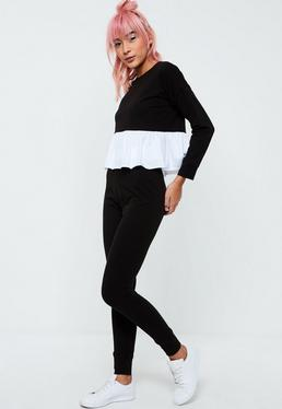 Black Frill Lounge Legging Set
