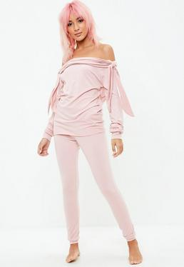 Pink Bow Sleeve Co ord Set