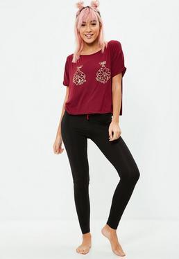 Red Bauble Leggings Pyjama Set