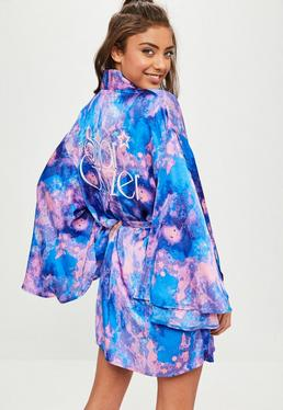Blue Satin Galaxy Robe