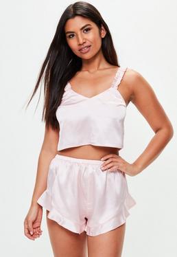 Pack pijama camiseta con pantalón corto en rosa