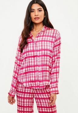 Pink Plaid Satin Pajama Pants Set