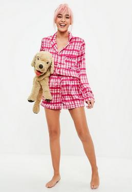 Pink Checked Satin Short Pyjama Set