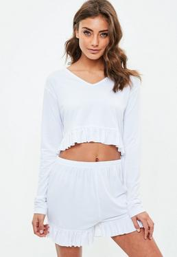 White Jersey Frill Short Set