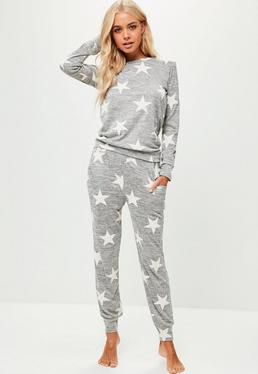 Grey Star Print Lounge Set