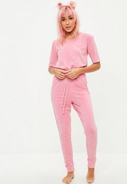 Pink Washed Lounge Jumpsuit