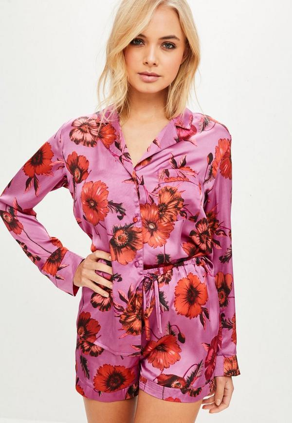 Conjunto pijama con flores de satén en rosa | Missguided