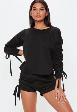 Czarny dresowy komplet piżamowy