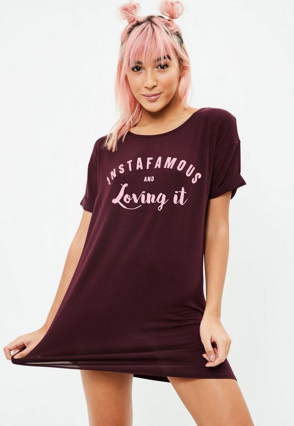 Burgundy Insta Famous Night T-Shirt