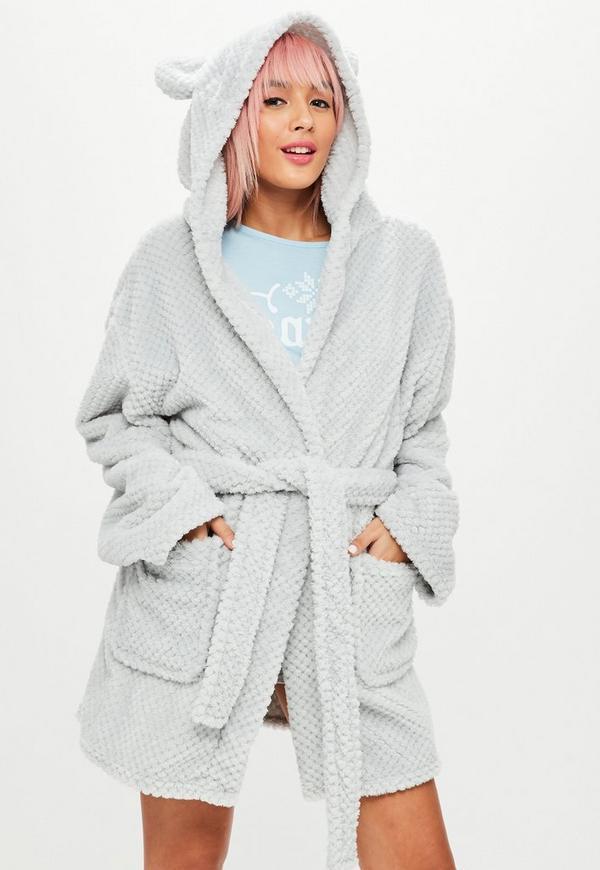 White Soft Fleece Ear Teddy Dressing Gown | Missguided
