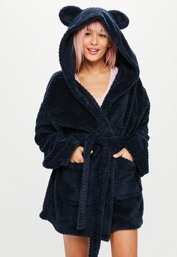 Navy Teddy Ear Fleece Robe