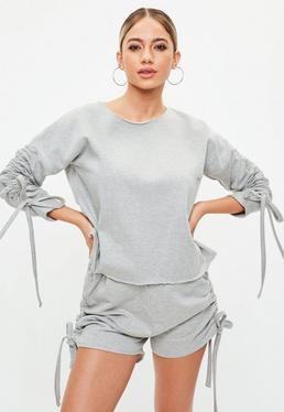 Gray Ruched Lounge Wear Short Set