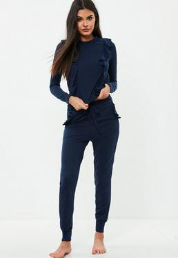 Navy Frill Lounge Tracksuit