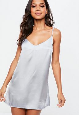 Grey V Neck Satin Slip Dress