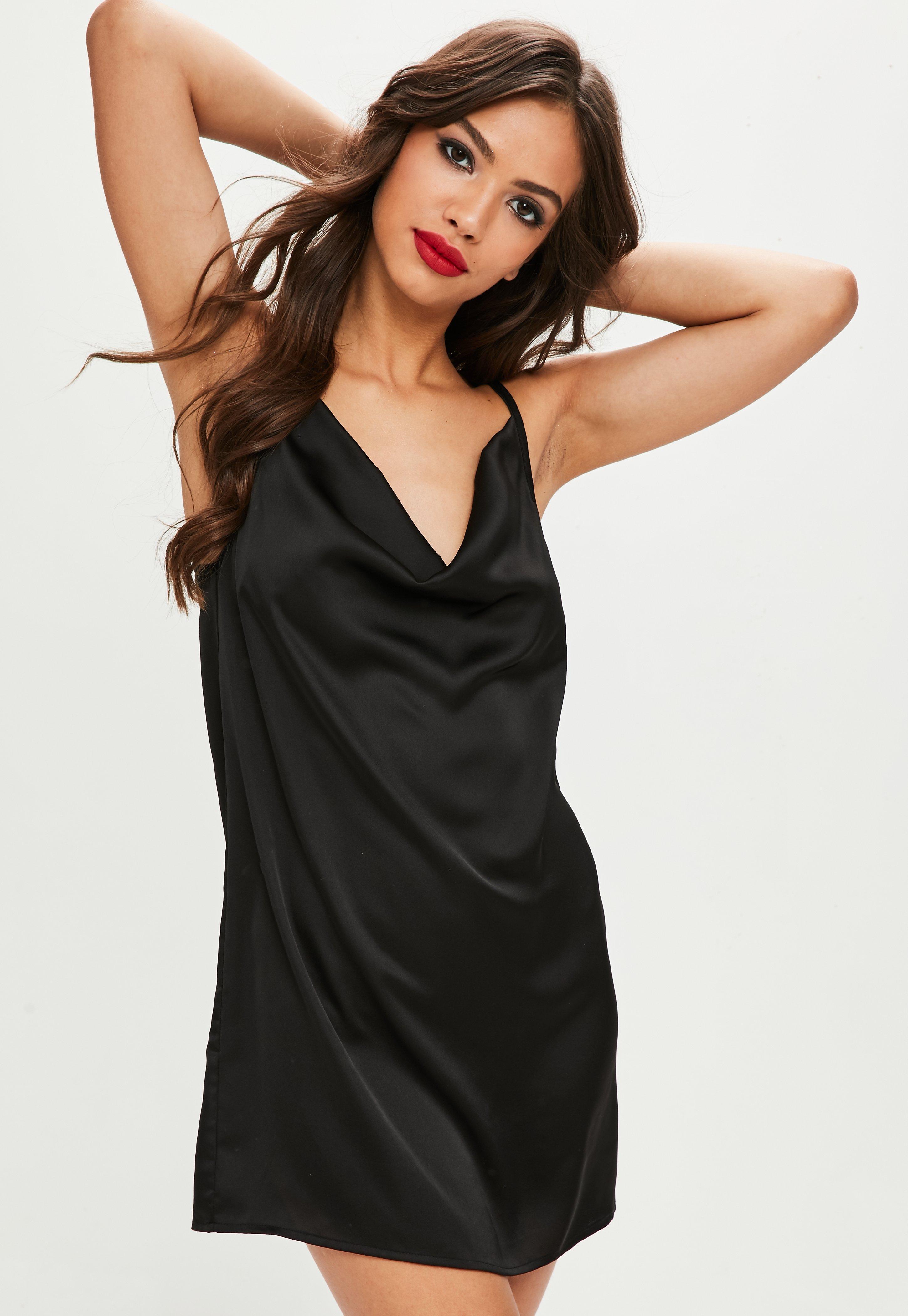 Missguided Cowl Neck Satin Slip