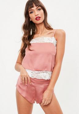 Pink Lace Insert Cami Short Set