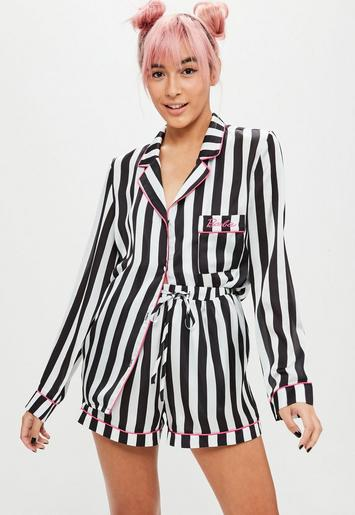 Barbie X Missguided Black Stripe Embroidered Pyjamas