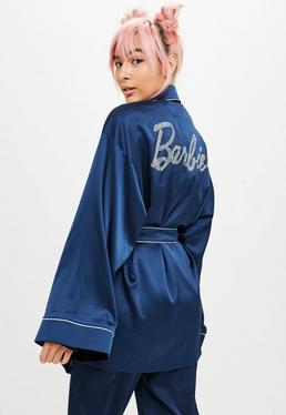 Barbie x Missguided Blue Hotfix Satin Dressing Gown
