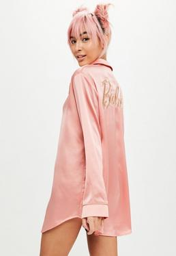 Barbie x Missguided Pink Satin Embroidered Pajamas