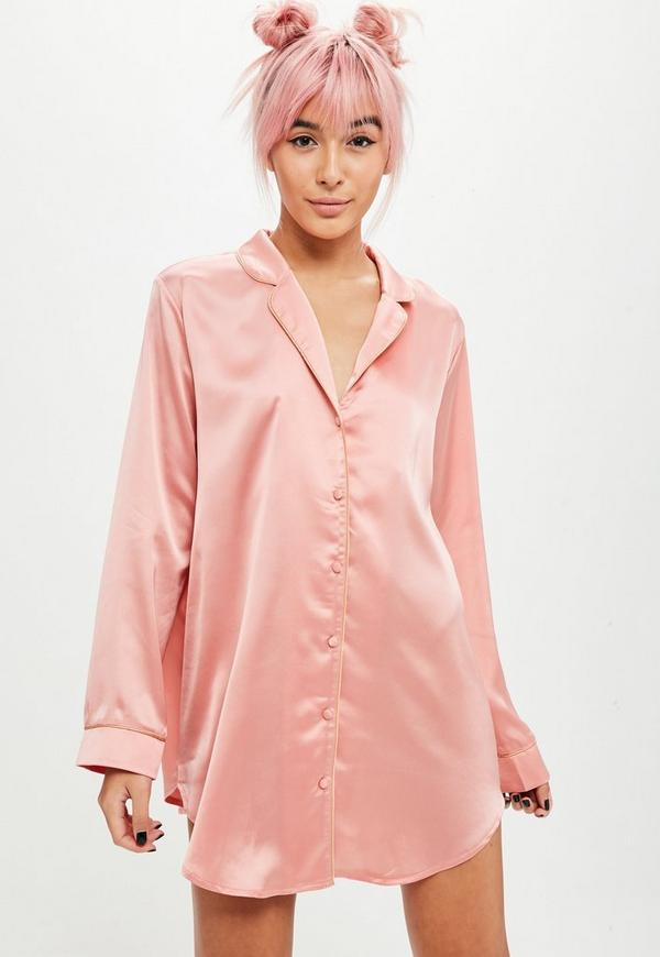 Barbie X Missguided Pink Satin Embroidered Nightshirt