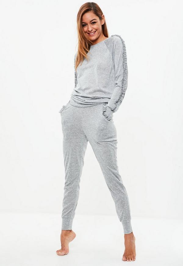 1d1afb56 Grey Ribbed Top Leggings Pajama Set Missguided | 2018 trends | xoosha