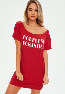 Red Hopeless Romantic Slogan Night T Shirt