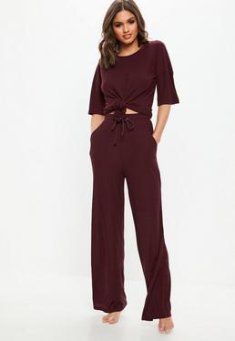 Burgundy Ribbed Wide Leg Loungewear Set