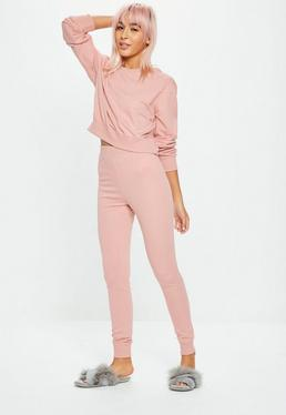 Blush Cropped Long Sleeve Lounge Set