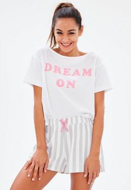 Biały komplet piżamowy Dream On