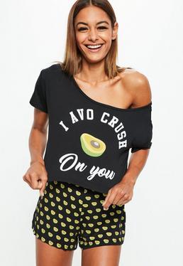 Conjunto pijama con short avocado en negro