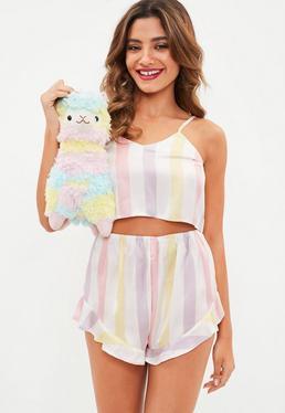 Conjunto pijama con short a rayas de satén en blanco