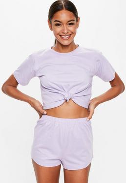 Liliowy komplet piżamowy