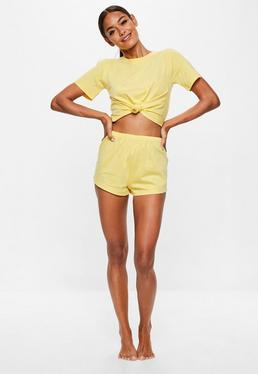 Yellow Tie Detail Shorts Pyjama Set