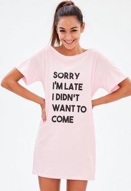 Różowa koszula nocna Sorry Im Late