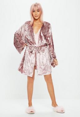 Pink Crushed Velvet Robe