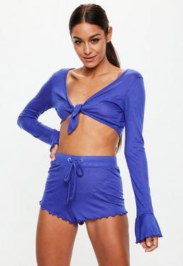 Fioletowy prążkowany komplet piżamowy