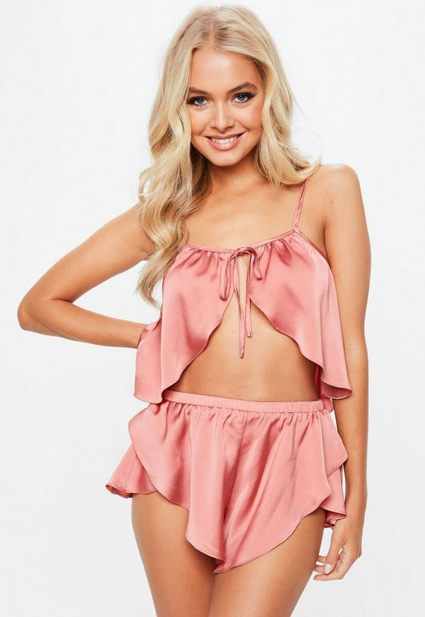 Pink Satin Tie Front Skinny Strap Pyjama Set by Missguided