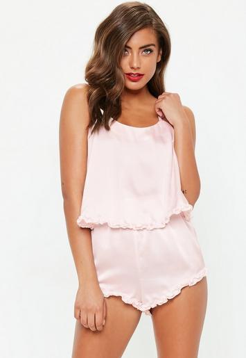 Pink Ruffle Satin Cami Pyjama Shorts Set  894900203