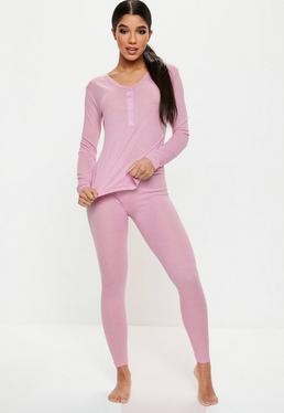 Pink Long Sleeve Ribbed PJ Set