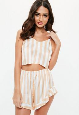 Nude Stripe Satin Piped Cami Shorts Pyjama Set