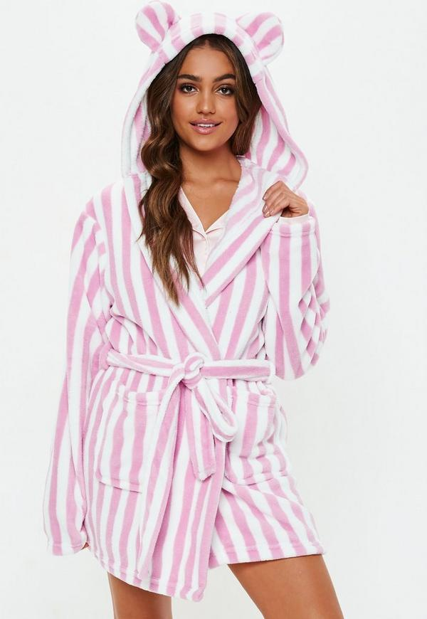 Pink Stripe Fluffy Dressing Gown | Missguided