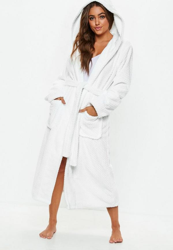 White Fluffy Long Length Dressing Gown Missguided