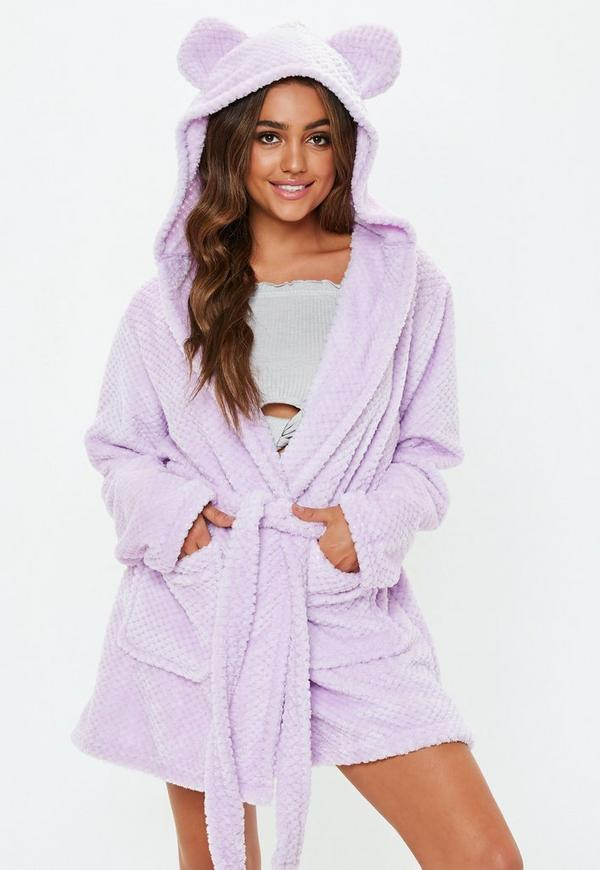 Lilac Fluffy Dressing Gown | Missguided