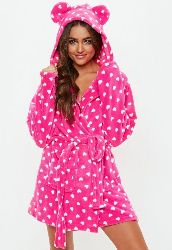 Pink Heart Fluffy Dressing Gown | Missguided