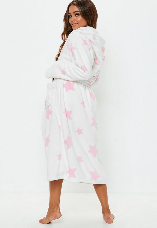 white star print fluffy long length dressing gown | Missguided
