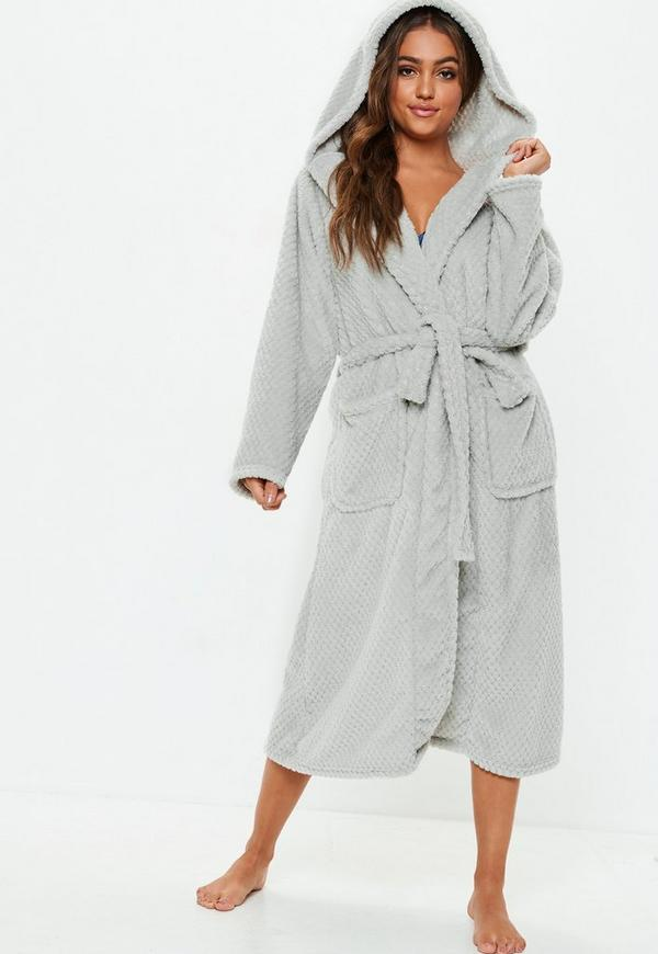 grey fluffy long length dressing gown | Missguided