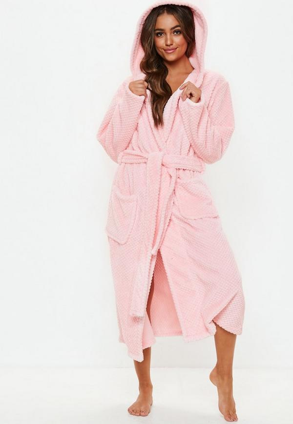 2d76a2479b pink fluffy long length dressing gown