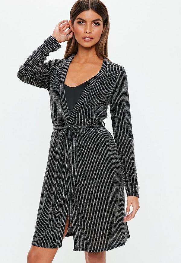4e4245822d Black Metallic Stripe Dressing Gown